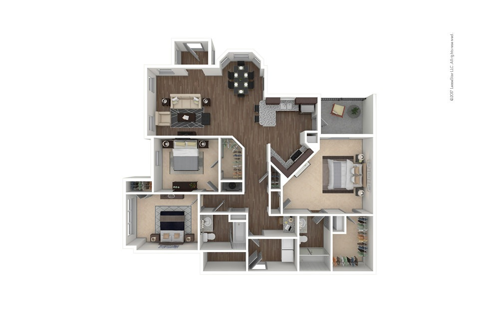 C1 3 bedroom 2 bath 1507 square feet
