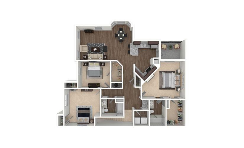 C1A 3 bedroom 2 bath 1507 square feet