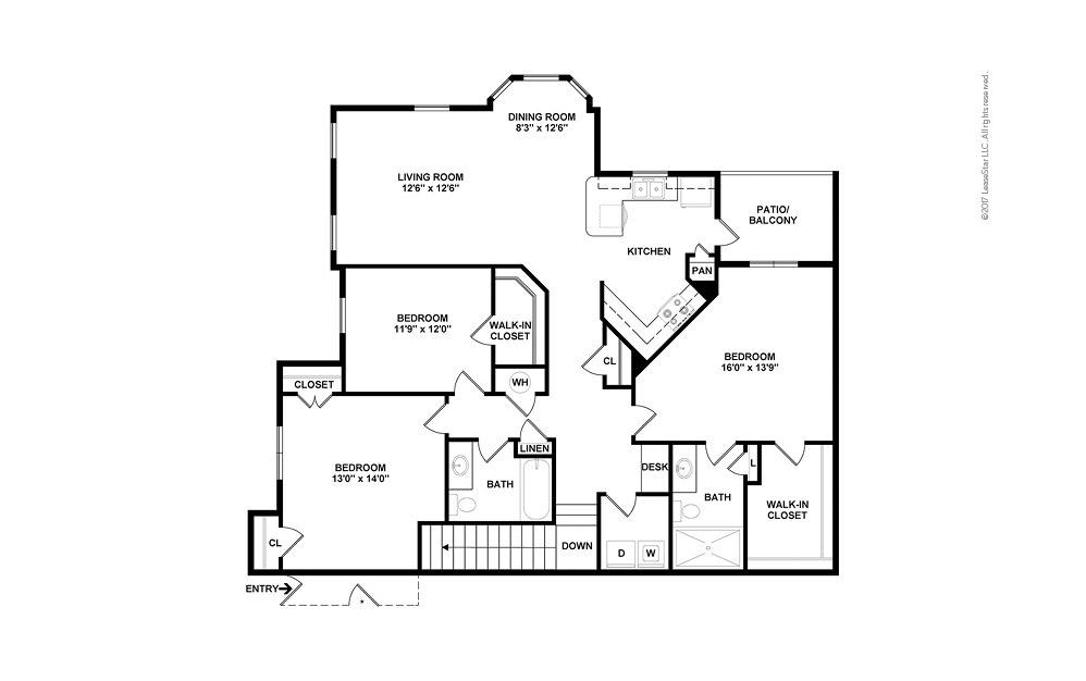 C1A 3 bedroom 2 bath 1507 square feet (2)