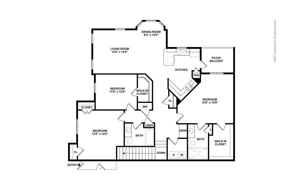 C2A 3 bedroom 2 bath 1583 square feet (2)