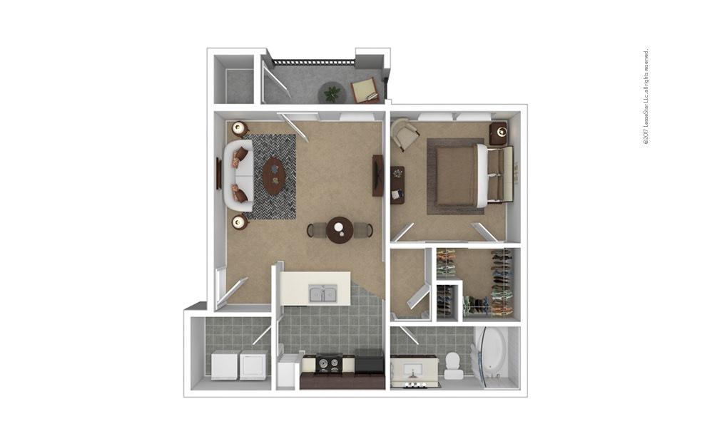 A2 1 bedroom 1 bath 661 square feet