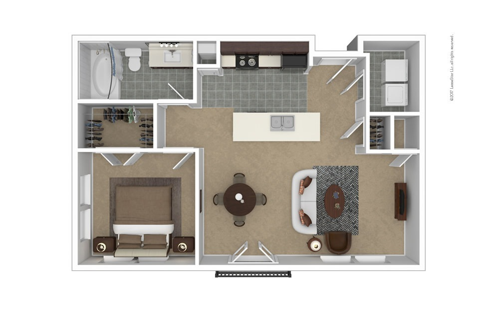 A3 1 bedroom 1 bath 794 square feet