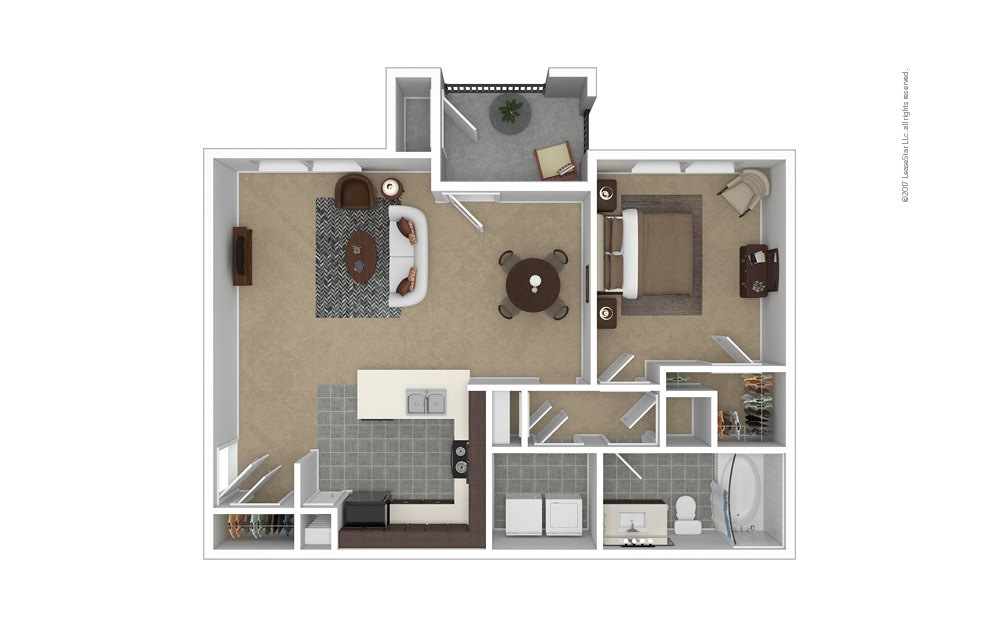 A4 1 bedroom 1 bath 844 square feet