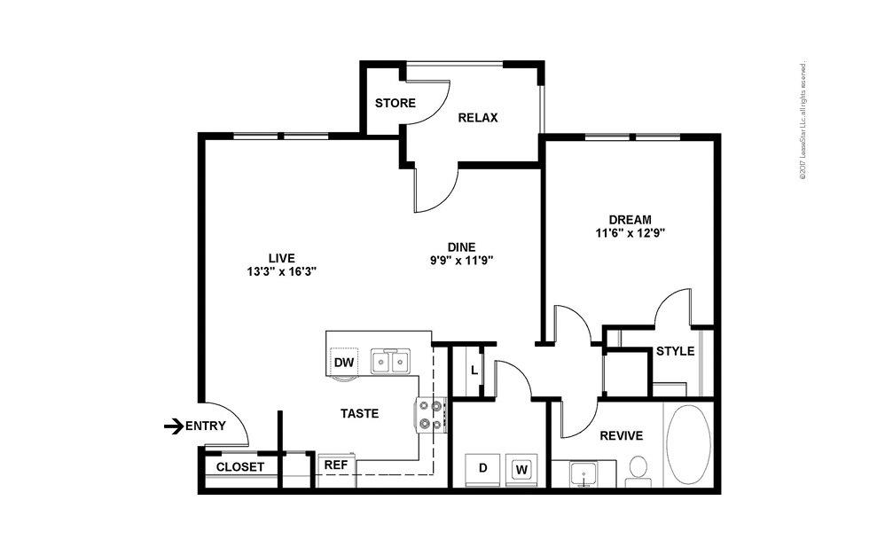 A4 1 bedroom 1 bath 844 square feet (2)