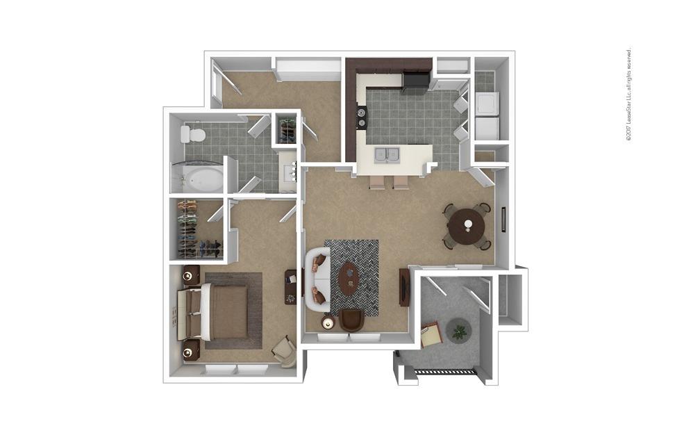 A6 1 bedroom 1 bath 878 square feet