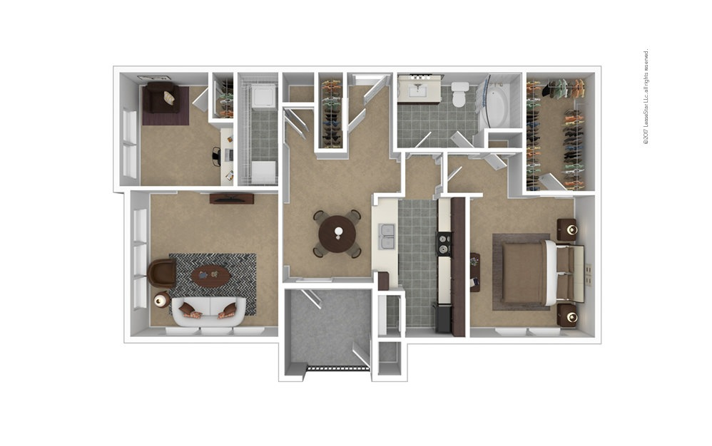 A7 1 bedroom 1 bath 1066 square feet