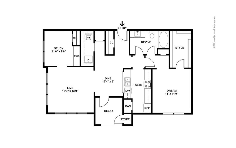 A7 1 bedroom 1 bath 1066 square feet (2)