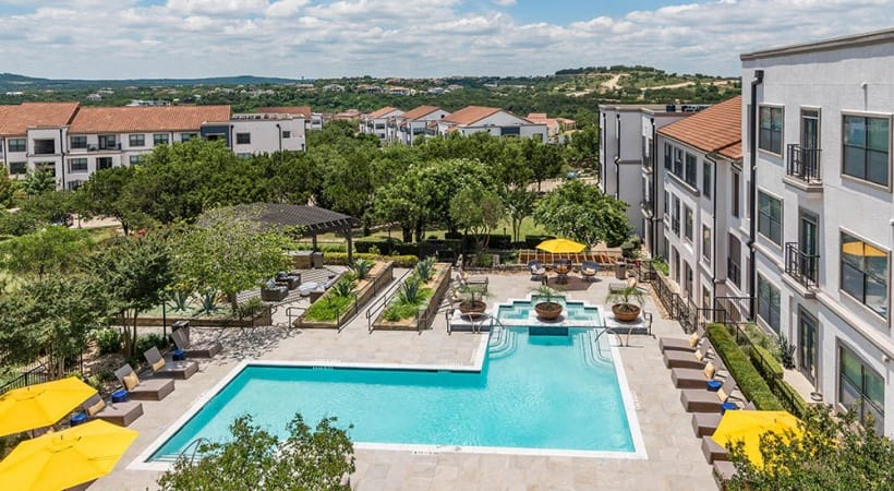 Aerial view of our Lake Travis apartment pool and sun deck