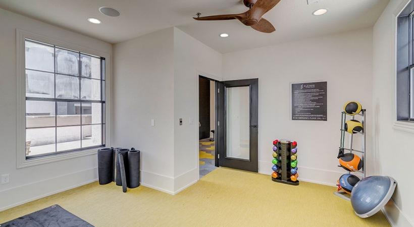 Yoga studio at our Lake Travis, Austin apartment gym