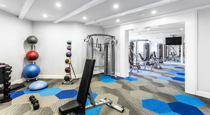 Two-story fitness center at our Frisco apartments for rent