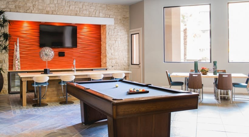 Our Stonebriar apartment clubhouse with pool table and HDTV
