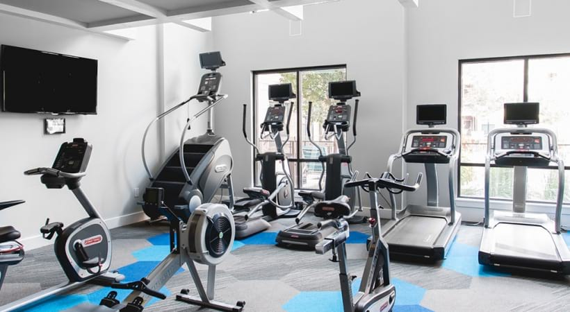 Two-story and 24/7 gym at our apartments near Legacy West