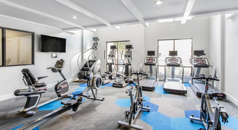 Our Frisco apartment gym with treadmills and other fitness equipments