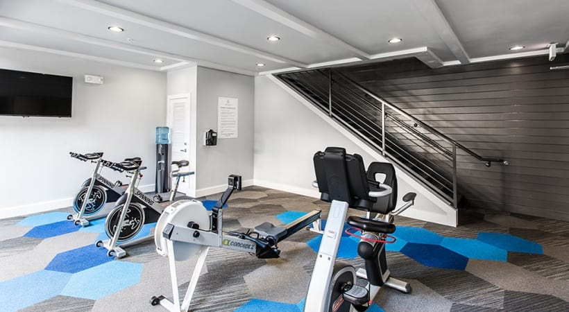 Our Stonebriar apartment gym with updated fitness equipment and HDTV