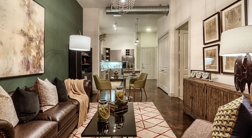 Spacious luxury living room with 9-foot ceilings at Dallas Farmers Market apartments