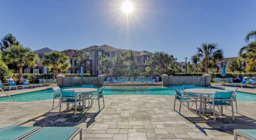 Resort style pool at apartments in Clear Lake, TX