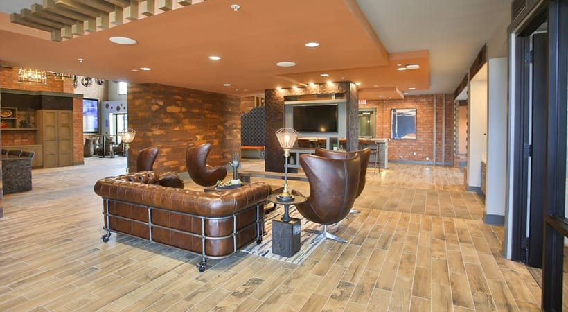 Lounge with games at our luxury apartments in Downtown Phoenix