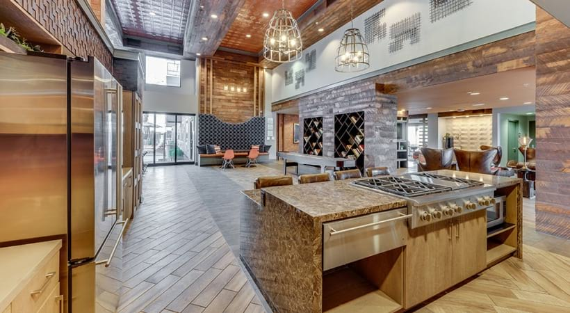 Resident lounge with kitchen at our luxury apartments in Phoenix, AZ