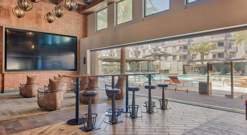 Our Downtown Phoenix apartment clubhouse with HDTV