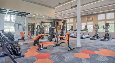 Fitness center at Camino Real apartments