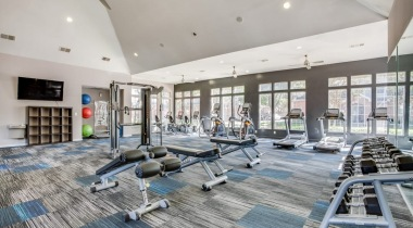 HDTV and equipments at our Richardson apartment gym