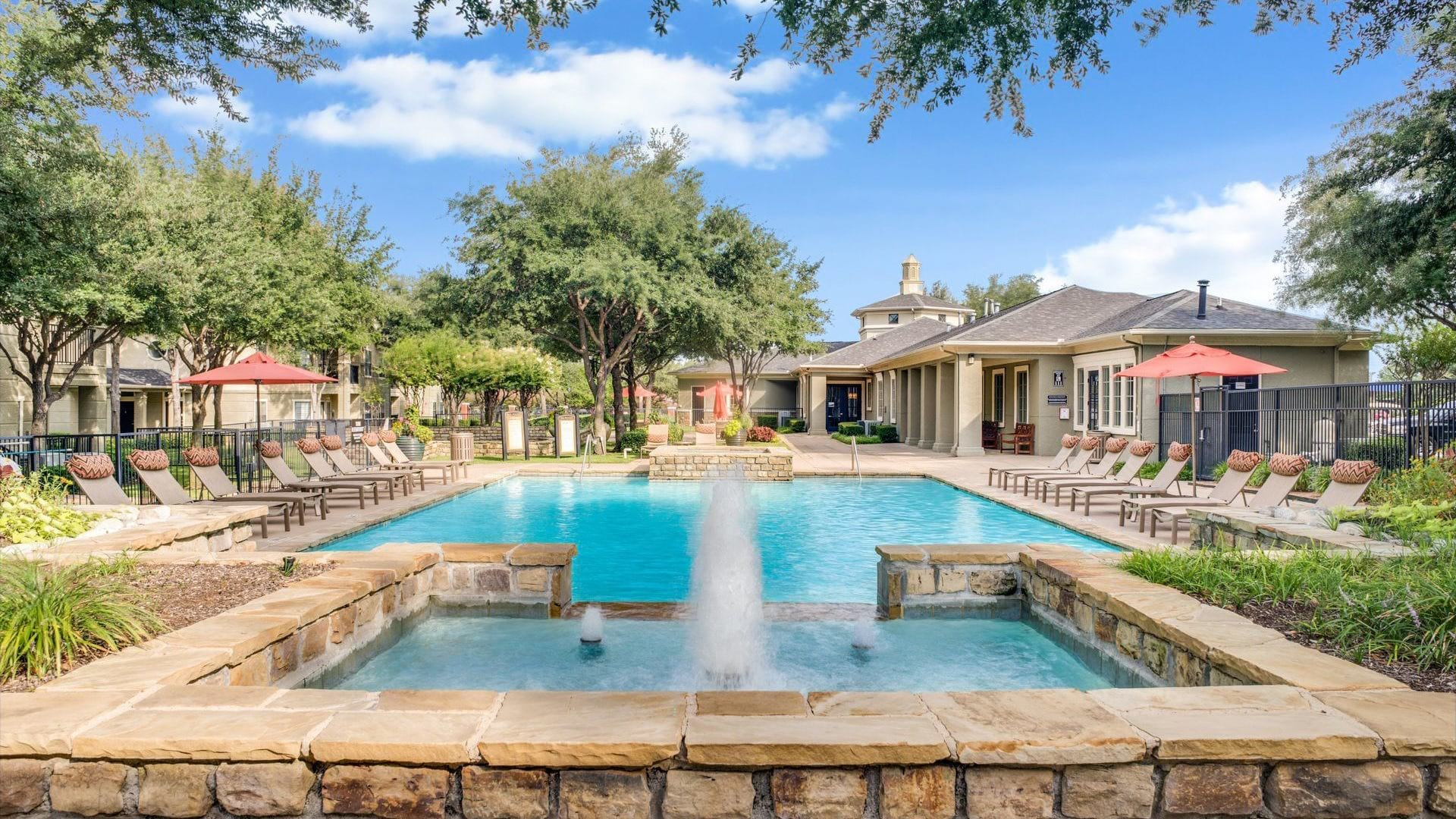 Resort style pool at apartments in Irving, TX