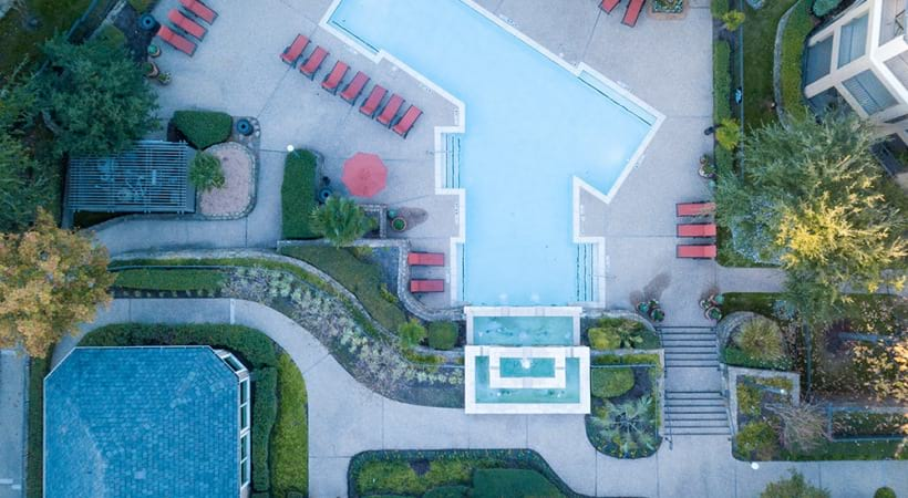 Ariel view of the resort style pool at Preserve at Arbor Hills