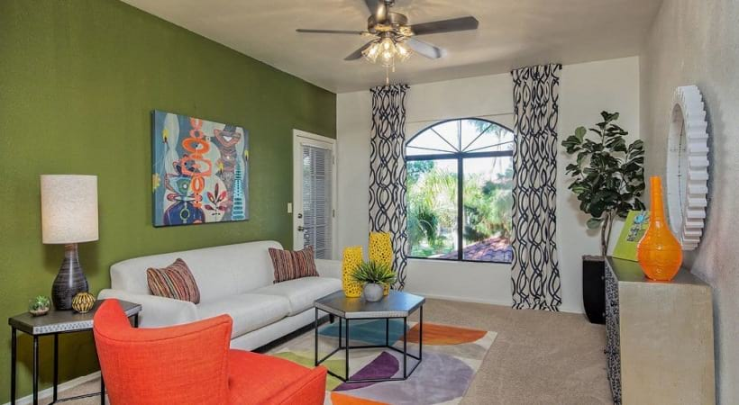 Living Room with Ceiling Fans