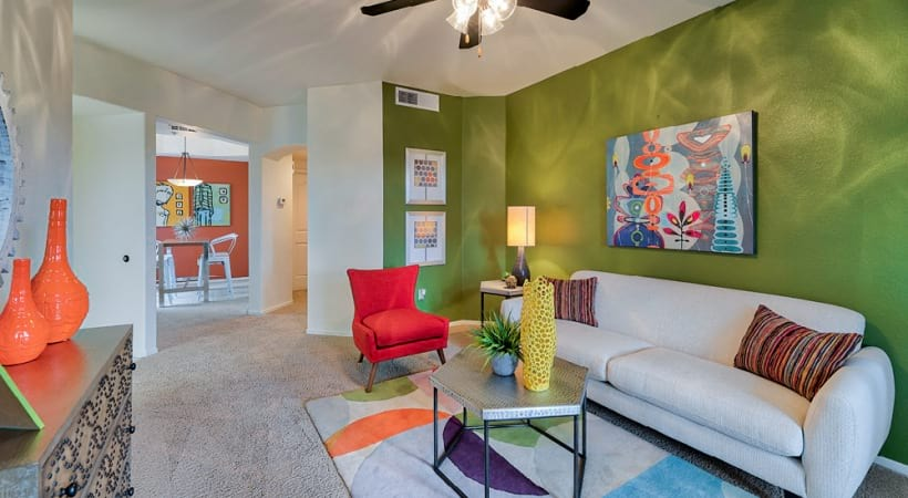 Well lit open living room space at San Brisas