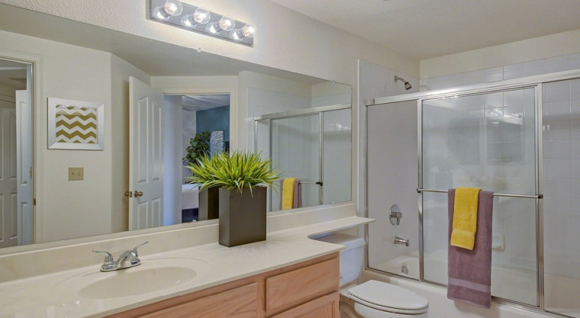 Well Lit Bathroom with Glass-Door Showers *