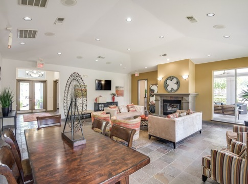Apartment Clubhouse with HDTVs and Fireplace