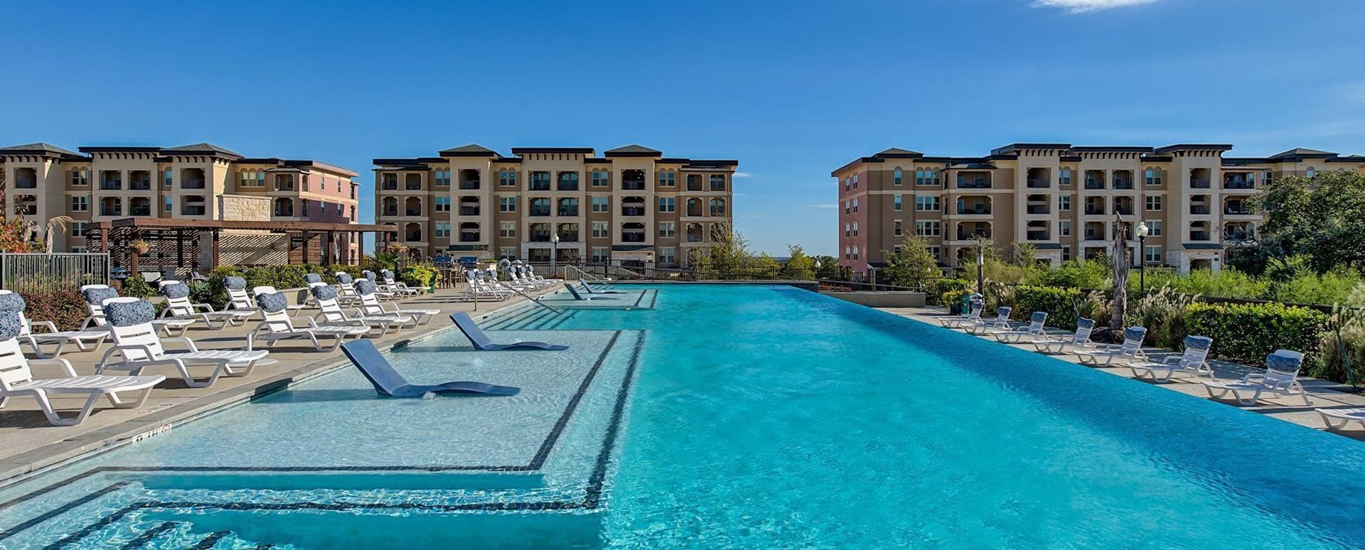 Resort style pool at apartments in San Antonio, TX