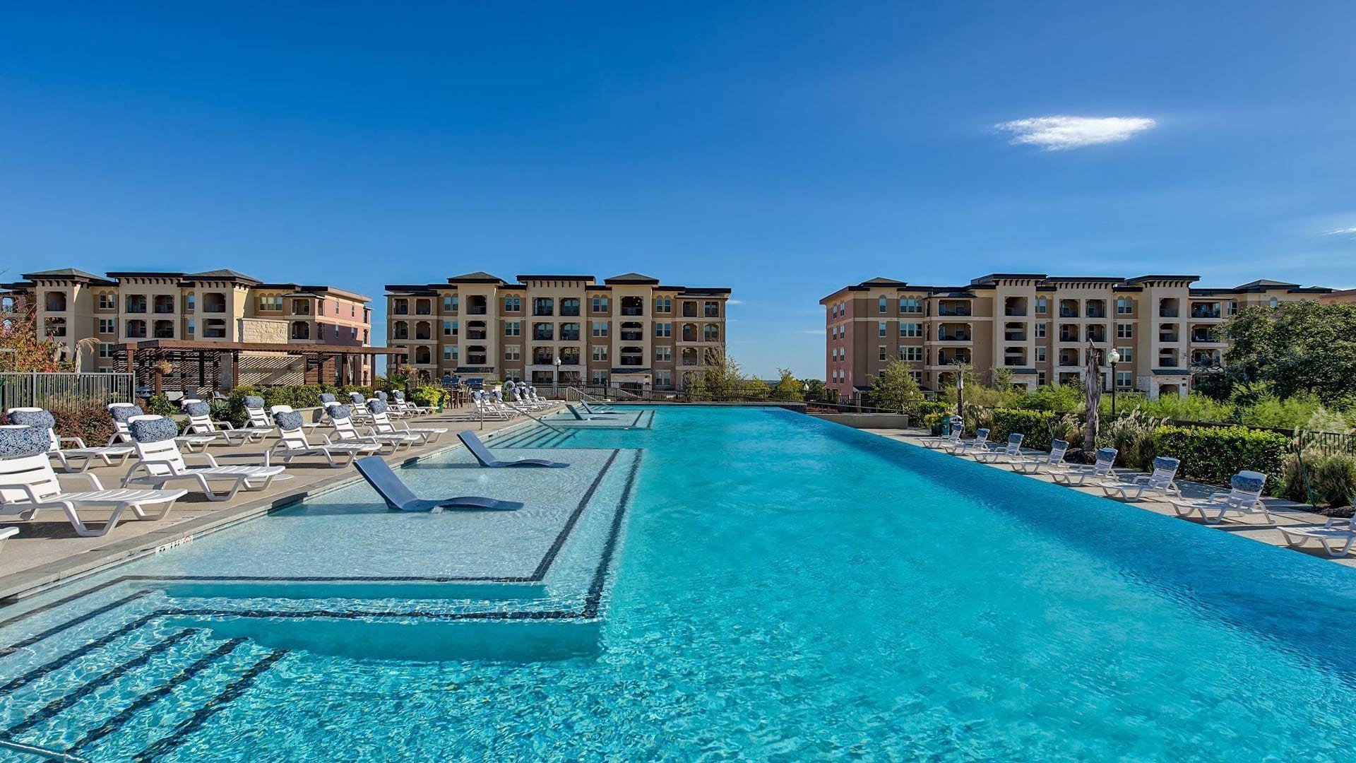 Resort style pool at luxury apartments in San Antonio