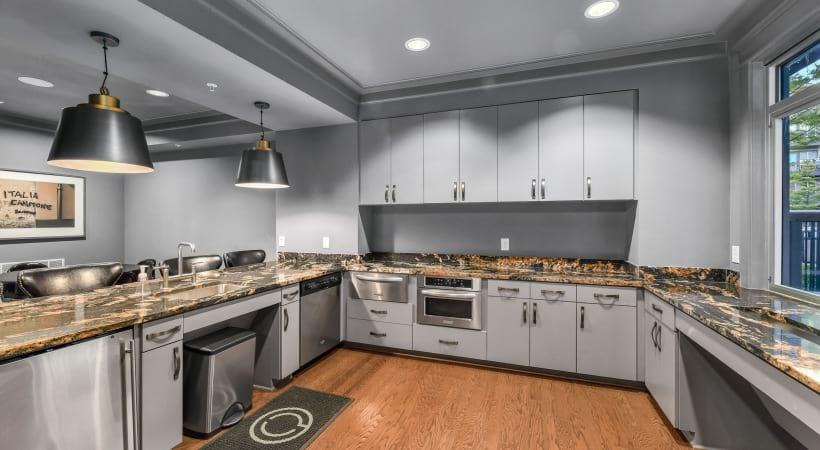 Modern apartment kitchen at apartments near Dallas, TX
