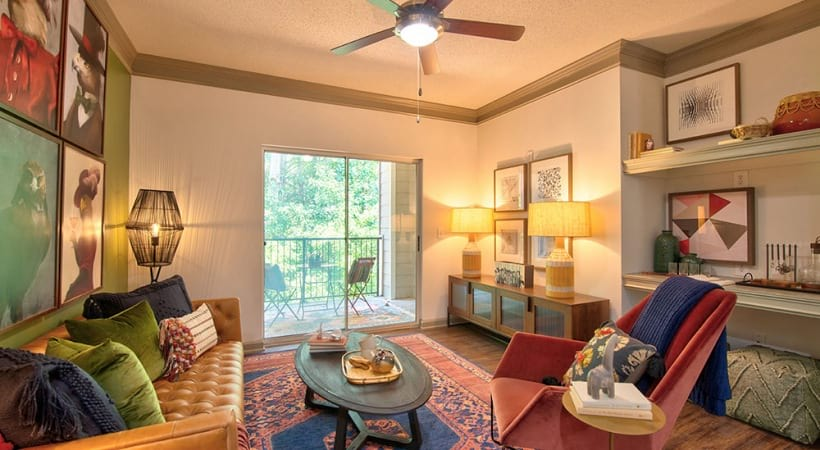 Spacious living room at apartments for rent in Duluth, GA
