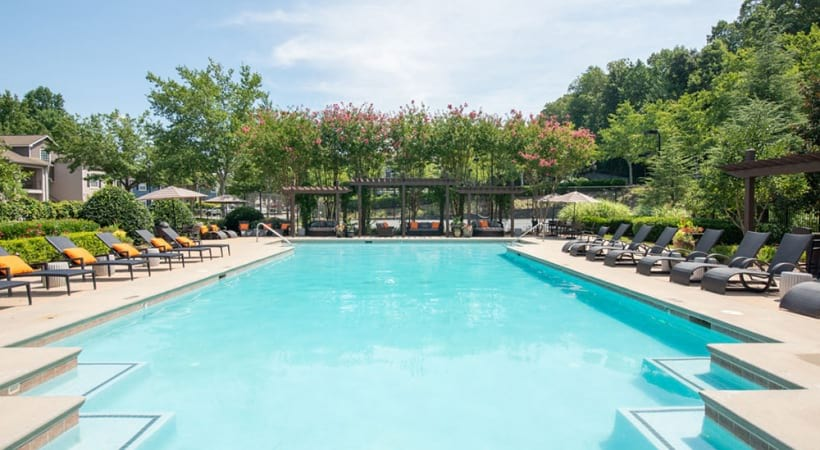 Resort style pool at apartments in Duluth, GA