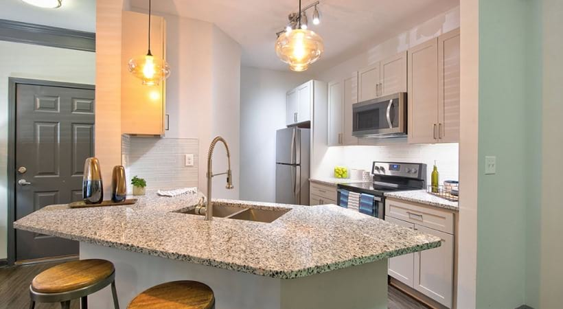 Kitchen breakfast bar at apartments for rent in Duluth, GA