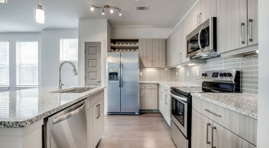 Open-concept kitchen at our spacious apartments in Broomfield, CO