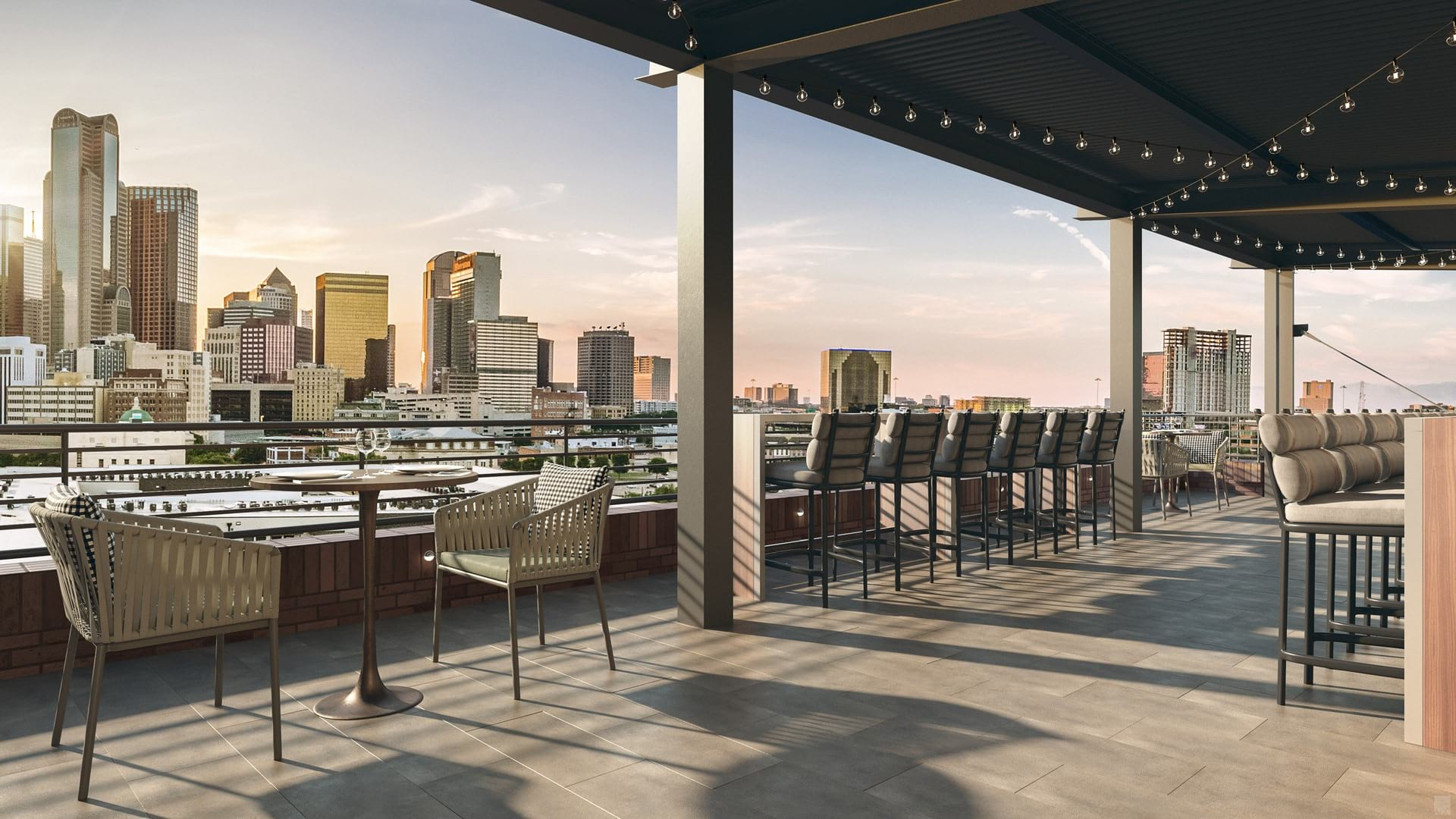 awning covered rooftop terrace with views of the Dallas skyline