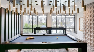 Game room pool table at apartments near Houston, TX