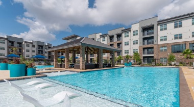 Saltwater pool at apartments in Katy, TX
