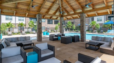 Outdoor lounge at luxury apartments in Katy, TX