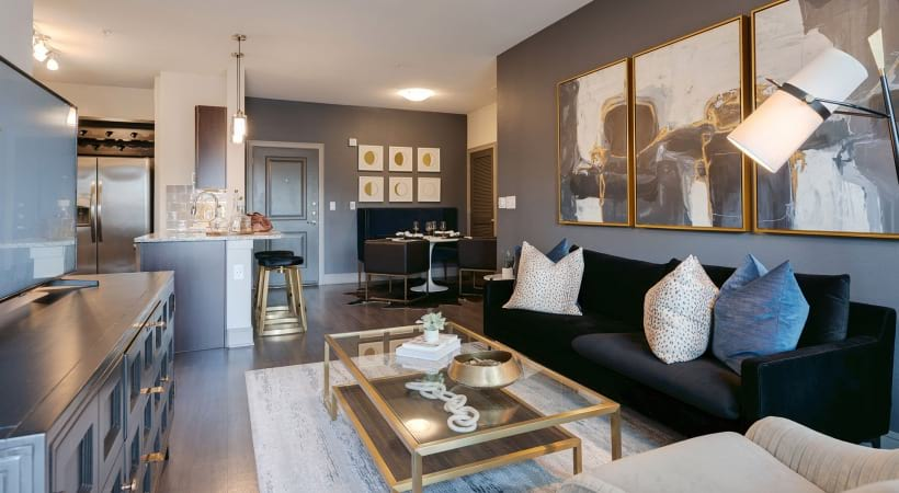 Luxury living areas at apartments in Katy, TX
