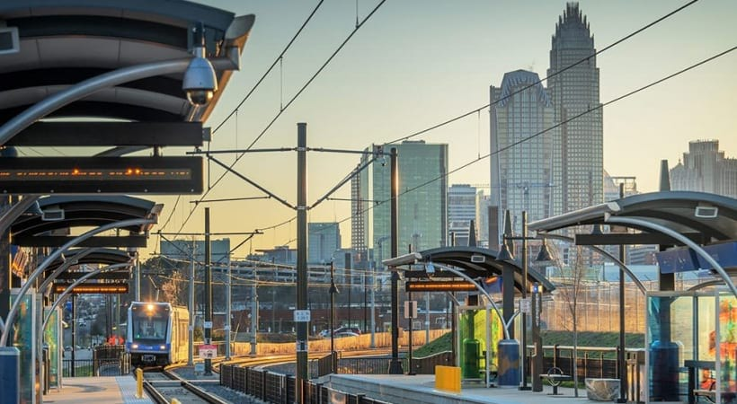 Train station overlooking Charlotte city skyline near our Cortland NoDa apartments in Charlotte, NC