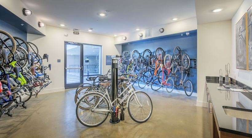 Bike storage and repair room at our Cortland apartments in Charlotte, NC