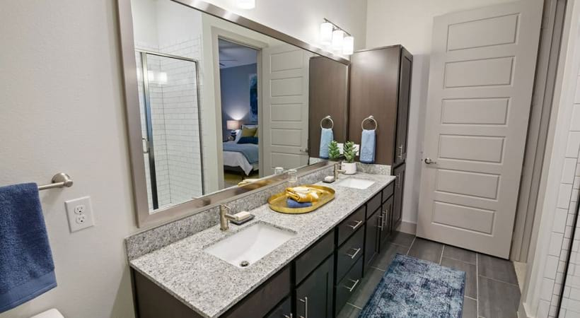 Granite countertops and modern lighting at our luxury apartments in North Dallas, TX