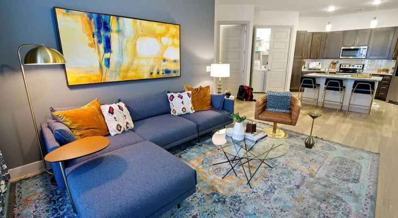 Cozy living room at our upscale apartments in North Dallas, TX