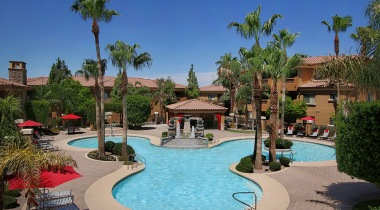 Resort-style pool and heated spa at our modern apartments for rent in South Mountain Phoenix