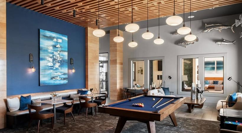 Game room with pool table at our luxury apartments in Clearwater, FL