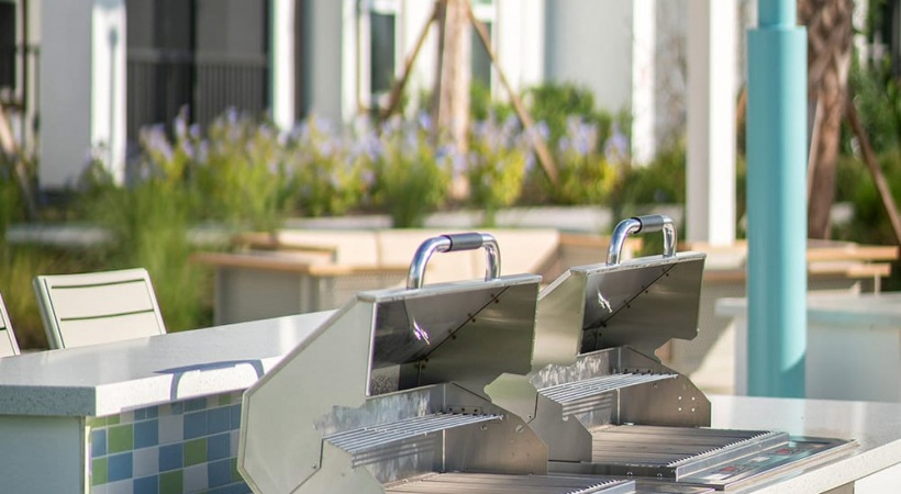 Outdoor grilling stations at our modern apartments in Clearwater, FL